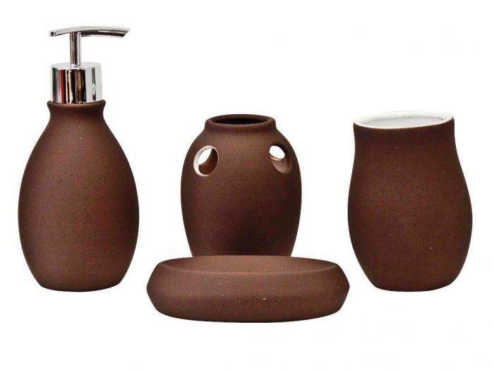 accessoire salle de bain marron
