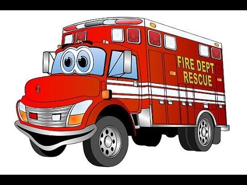 dessin animé voiture pompier