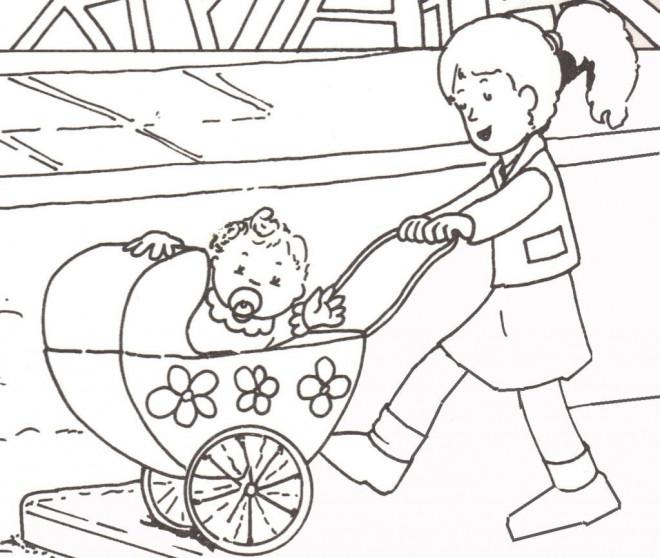 dessin de bébé dans une poussette